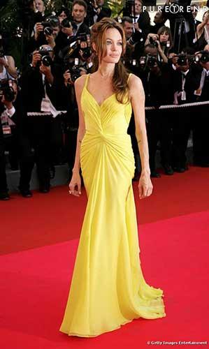 Robe jaune poussin Angelina Jolie