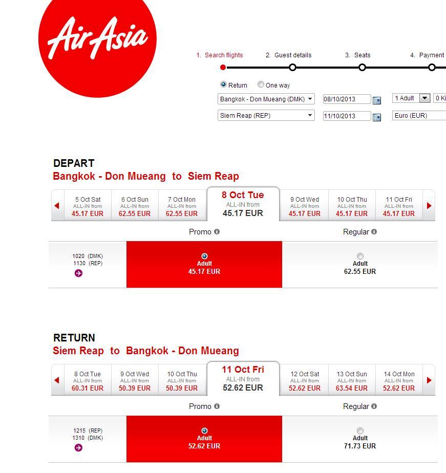 Trajet Bangkok Siem Reap avec Air Asia